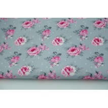 Cotton 100% pink roses on a gray background, poplin