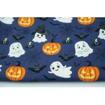 Cotton 100% happy ghosts, pumpkins, poplin