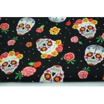 Cotton 100% skulls, flowers on a black background, poplin
