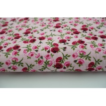 Double gauze 100% roses on a pink background