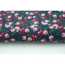 Double gauze 100% roses on a navy background