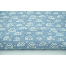 Double gauze 100% cotton white rainbows on a blue background