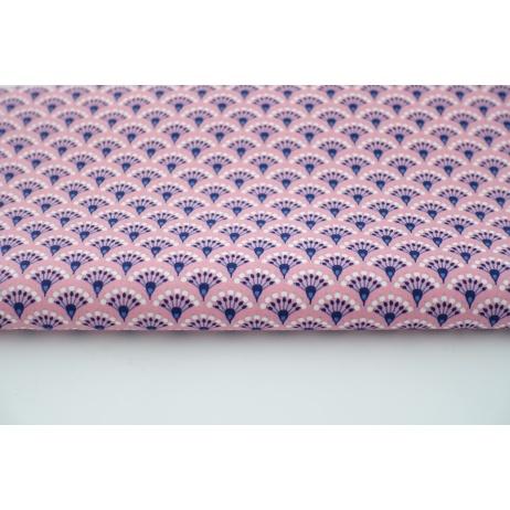 Bawełna 100% pawie pióra na różowym tle, popelina