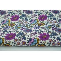 Bawełna 100% musztardowo-purpurowe kwiaty na białym tle, popelina