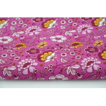 Cotton 100% mustard-bordeaux flowers on a pink background, poplin