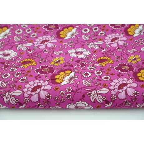 Bawełna 100% musztardowo-bordowe kwiaty na różowym tle, popelina