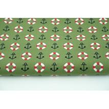 Cotton 100% lifebuoys, anchors on a khaki background, poplin
