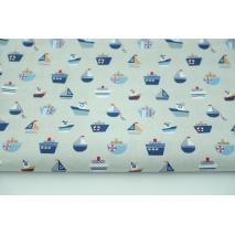 Cotton 100% ships, sailboats on a gray background, poplin