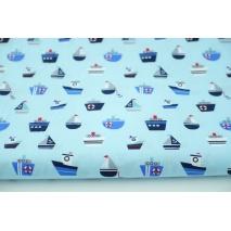 Bawełna 100%, okręty, żaglówki na błękitnym tle popelina