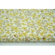 Bawełna 100%, musztardowe kwiatki, brązowe gałązki, popelina
