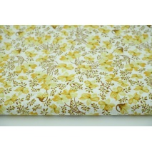 Cotton 100% mustard flowers, brown twigs, poplin
