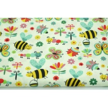 Cotton 100% butterflies, ladybugs, bees, poplin