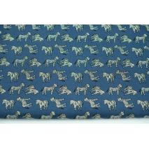 Cotton 100% zebras on a navy background, poplin