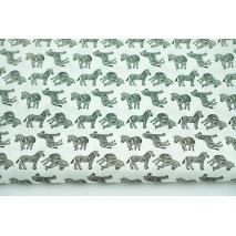 Cotton 100% zebras on a ivory background, poplin