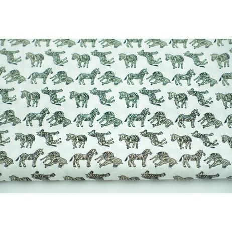 Bawełna 100% zebry na złamanej bieli, popelina