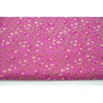 Cotton 100% mini mustard-burgundy flowers on a pink background, poplin