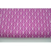 Cotton 100% retro pattern, pink leaves - poplin