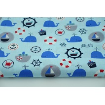 Cotton 100% whales, ships on a blue background, poplin