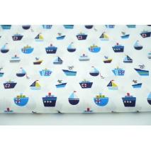 Cotton 100% ships, sailboats on a white background, poplin