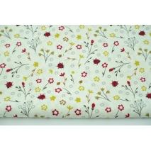 Cotton 100% flowers, ladybugs on vanilla background, poplin