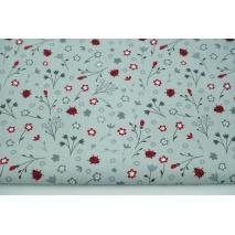 Cotton 100% flowers, ladybugs on gray background, poplin