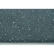 Double gauze 100% cotton white spots on a dark graphite background