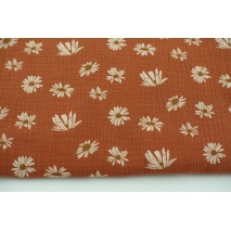 Double gauze 100% cotton daisies on a ginger background