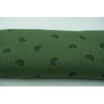 Double gauze 100% cotton black rainbows on rotten green background