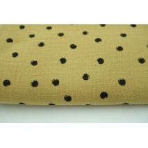 Double gauze 100% cotton black dors on calmel background