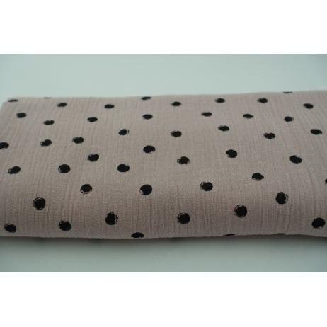 Double gauze 100% cotton black dots on a powder pink background