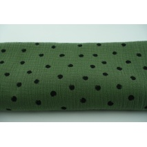 Double gauze 100% cotton black dots on a rotten green background