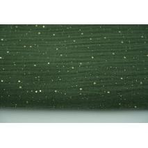 Muślin bawełniany, złote konfetti, kropki na zgniłej zieleni