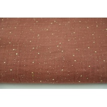 Double gauze 100% cotton golden confetti on a Indian brown background