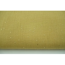 Double gauze 100% cotton golden confetti on a caramel background