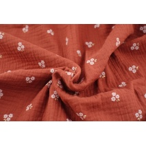 Double gauze 100% cotton flowers, golden leaves on a ginger background