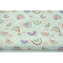 Cotton 100% rainbows, stars on a white background, poplin