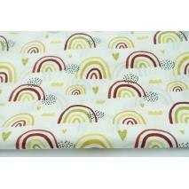 Cotton 100% hearts, mustard-bordeaux rainbows on a white background, poplin