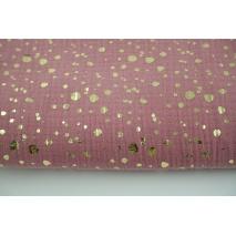 Muślin bawełniany, złote plamki na różowym tle