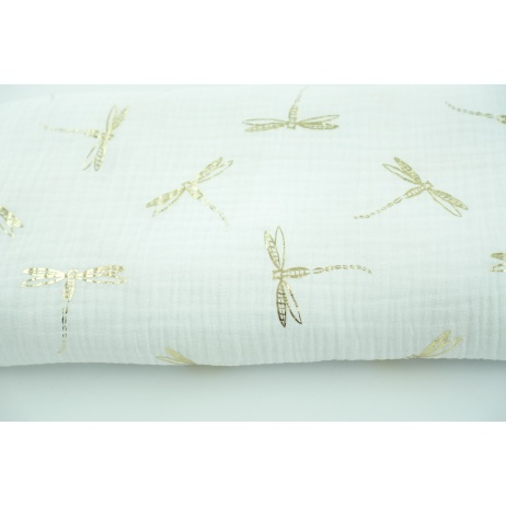 Double gauze 100% cotton golden dragonfly on a white background