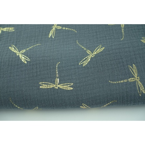 Double gauze 100% cotton golden dragonfly on a gray background