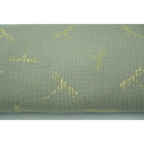 Double gauze 100% cotton golden dragonfly on a beige background