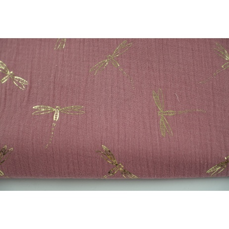 Double gauze 100% cotton golden dragonfly on a pink background