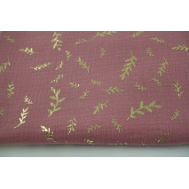 Double gauze 100% cotton golden twigs on pink background