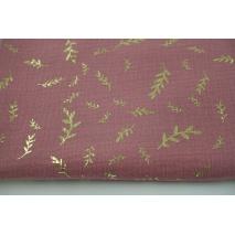 Muślin bawełniany, złote gałązki na różowym tle