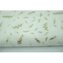 Double gauze 100% cotton golden twigs on ecru background