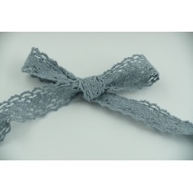 Cotton lace 23mm in a grey blue color