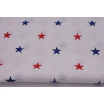 Cotton 100% red, navy stars on a white background