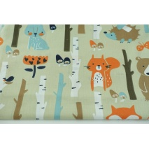 Cotton 100% forest animals on a beige background