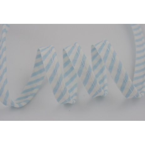 Cotton edging ribbon white-blue stripes
