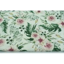Cotton 100% pink wild blossom on a ecru background